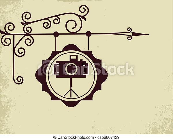 antique street sign of photo store - csp6607429