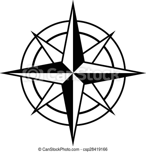 Antique style compass rose icon - csp28419166