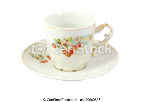Antique tea cup isolated on a white background - csp30669625