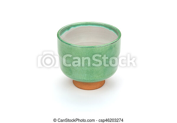 Antique tea cup isolated on white background - csp46203274
