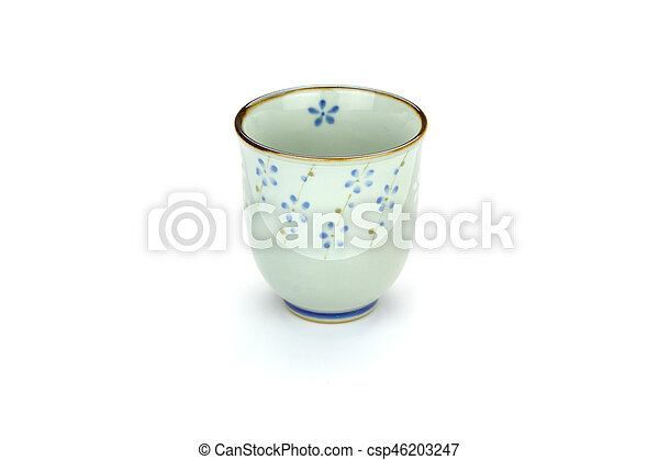 Antique tea cup isolated on white background - csp46203247