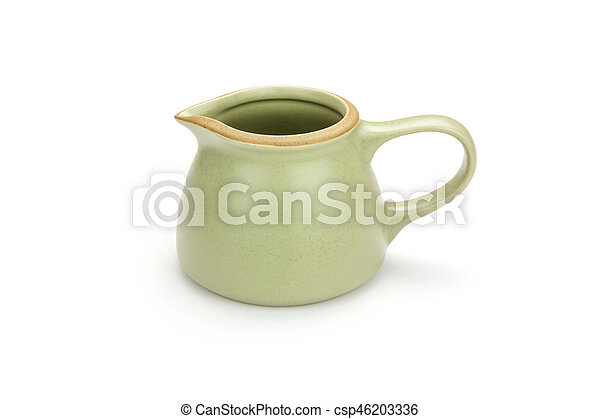 Antique tea cup isolated on white background - csp46203336
