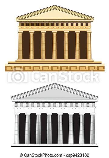 Antique Temple Facade - csp9423182