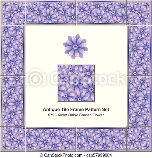 Antique tile frame pattern set violet purple daisy garden flower - csp57939004
