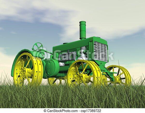 Antique tractor - 3D render - csp17389722
