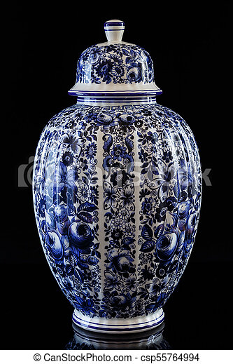 Antique Traditional Chinese Porcelain Vase On Black Background