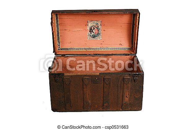 antique travel trunk - csp0531663
