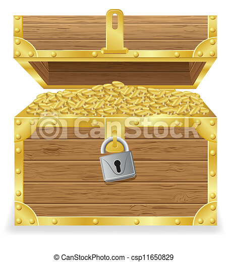 antique treasure chest vector - csp11650829