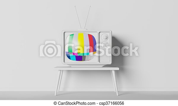 Antique Tv Set On Table Mockup Home Interior 3d Rendering