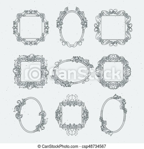 Antique Victorian Picture Frames Vector Set In Baroque Style Victorian Frame Decoration Classical Style For Gallery Canstock