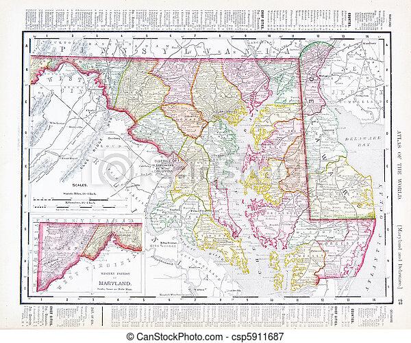 Antique Vintage Color Map Maryland Delaware, USA on delaware history trail, delaware capital, delaware maryland, delaware major cities, delaware map cities, delaware major geographical features, delaware us map, delaware 13 colony map, delaware usa,