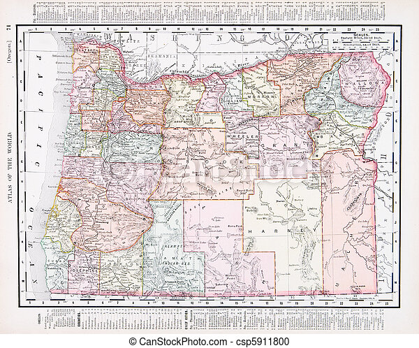 Vintage Oregon Map.Antique Vintage Color Map Of Oregon Usa Vintage Map Of The State