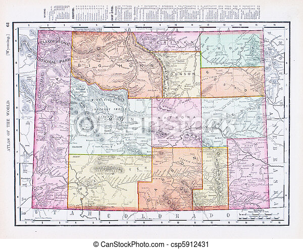Antique Vintage Color Map of Wyoming, USA - csp5912431