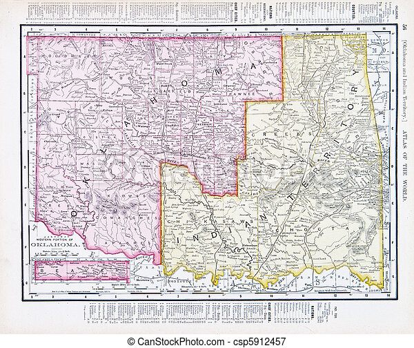 Antique vintage map oklahoma indian territory usa Vintage