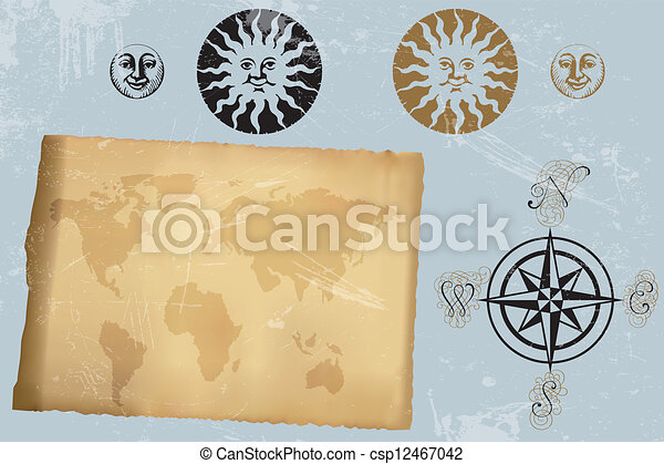 Antique vintage world map and wind rose and symbols of moon eps antique vintage world map and wind rose csp12467042 gumiabroncs Gallery