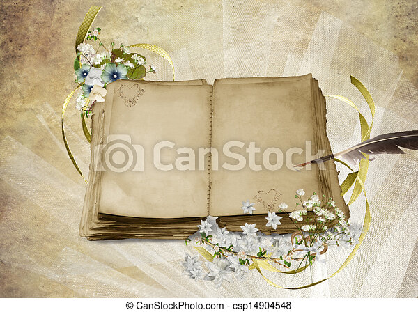 antique wedding album on with pen wedding book with