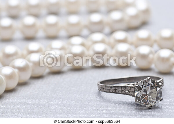 Antique Wedding Ring and Pearls wit - csp5663564