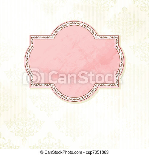 antique white wedding label grungy intricate pink and white label