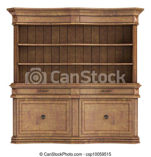 Antique wooden cabinet - csp10059515 - Antique Wooden Cabinet Isolated On White Background.