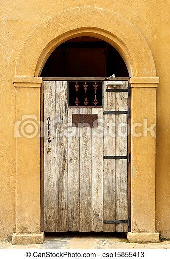 antique wooden door - csp15855413