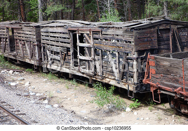 Antique Wooden Rail Cars Several Old Wooden Rail Stock Cars