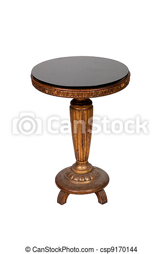 Antique wooden round table isolated on white background - csp9170144