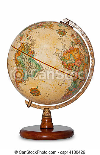 Antique world globe isolated clipping path. - csp14130426