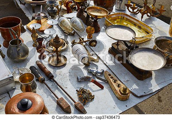 Antiques market outdoor in Spain - csp37436473