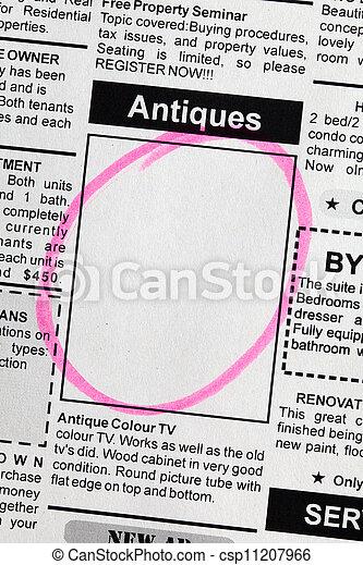 Antiques Sale ad - csp11207966
