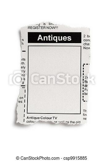 Antiques Sale ad - csp9915885