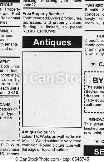 Antiques Sale ad - csp16548745