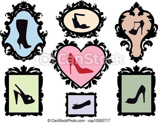 antiquité, cadres, silhouettes, chaussure - csp10263717