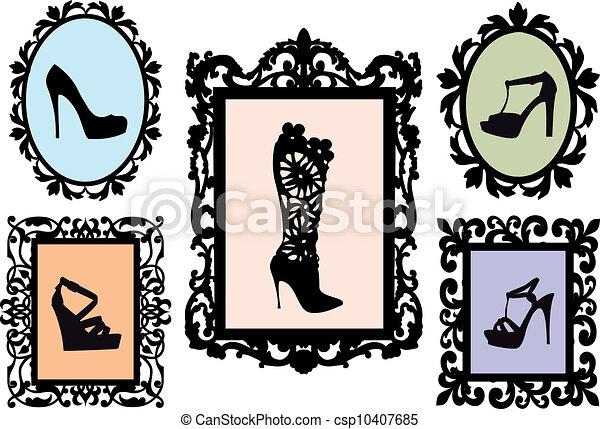 antiquité, cadres, silhouettes, chaussure - csp10407685