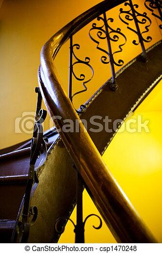 antiquité, cage escalier, balustrade - csp1470248