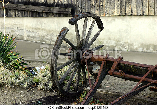 antiquité, chariot, vieux, cassé, &, roue - csp0128453