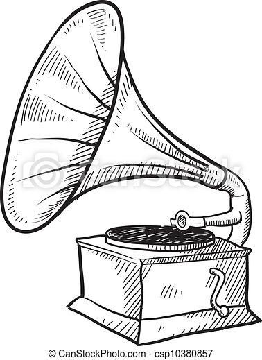 antiquité, croquis, phonographe - csp10380857