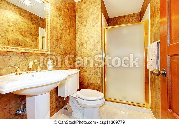 antiquité, doré, salle bains, toilette, sink., blanc