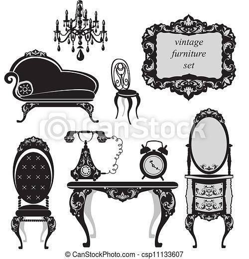 antiquité, ensemble, meubles - csp11133607