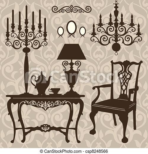 antiquité, ensemble, meubles - csp8248566