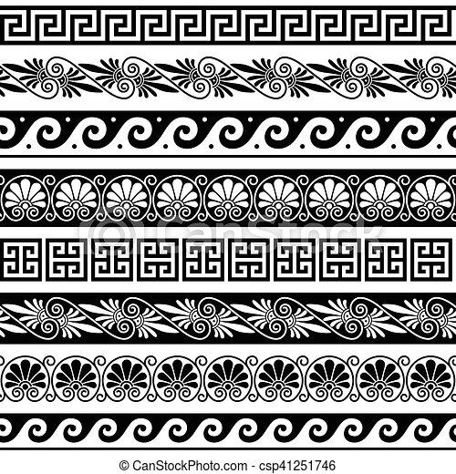 antiquité, ensemble, modèle, -, seamless, grec, grèce antique, frontières - csp41251746