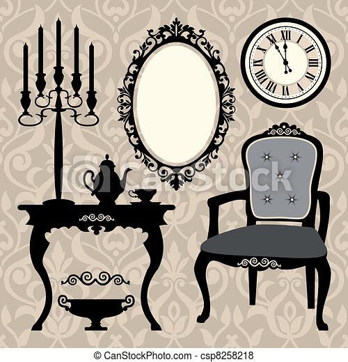 antiquité, ensemble, objet, meubles - csp8258218