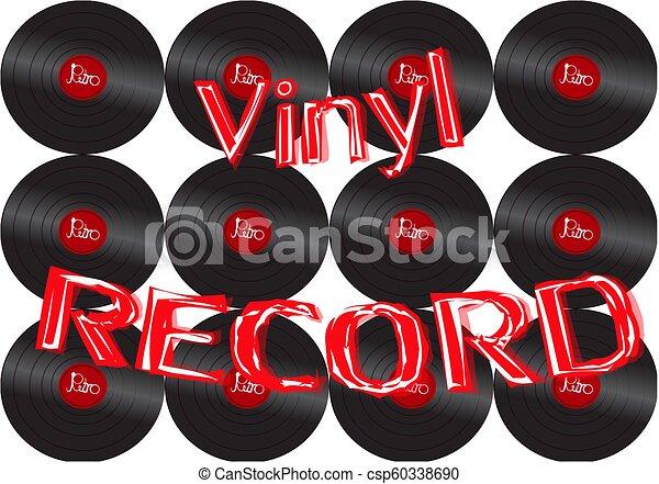 antiquité, inscription, vecteur, vieux, enregistrement, vendange, illustration, audio, space., 70, vinyle, 80, hipster, 90, fond, 60, 50, copie, musical, retro - csp60338690