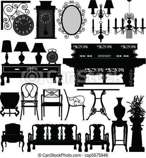 antiquité, maison, meubles, vieux, maison - csp5675946