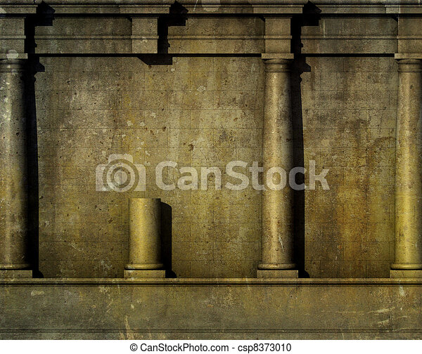 antiquité, render, classique, mur, grec, architecture romaine, 3d - csp8373010