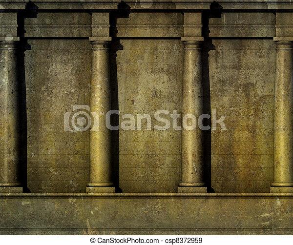 antiquité, render, classique, mur, grec, architecture romaine, 3d - csp8372959