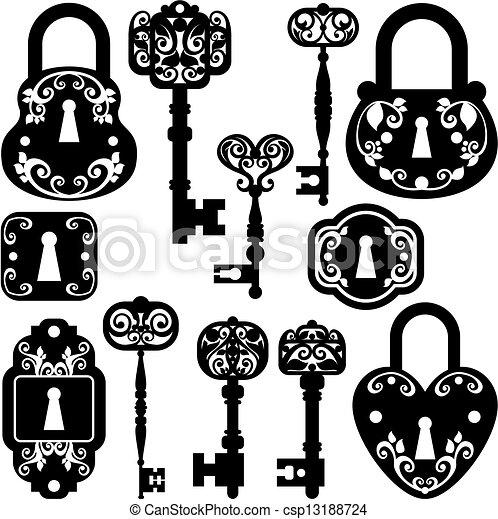 antiquité, serrures, clés - csp13188724