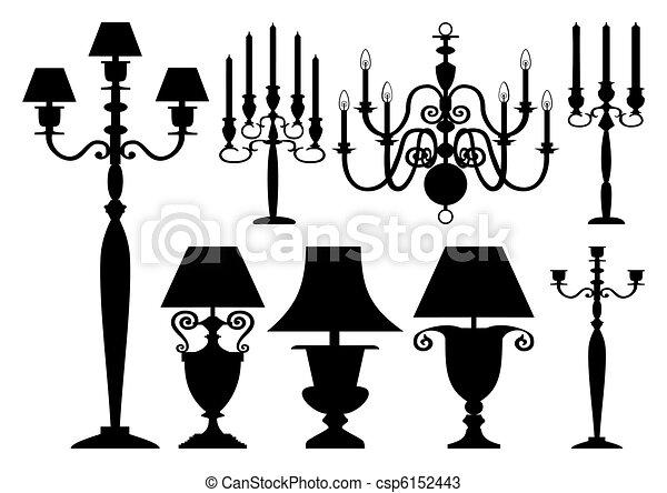 antiquité, silhouettes, ensemble, éclairage - csp6152443