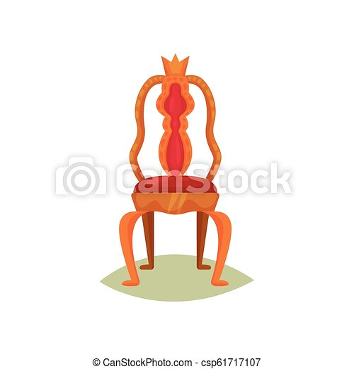 antiquité, tailler, velours, furniture., doré, king., musée, royal, plat, vecteur, conception, luxe, item., chaise, trône, rouges, crown. - csp61717107