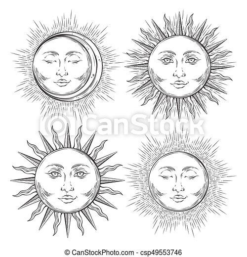 Antiquité Tatouage Style Art Soleil Set Flash Isolé Main Boho Vecteur Conception Croissant Fond Chic Dessiné Lune Blanche