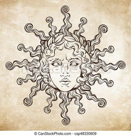 Antiquite Tatouage Style Illustrarion Dieu Flash Main Grec